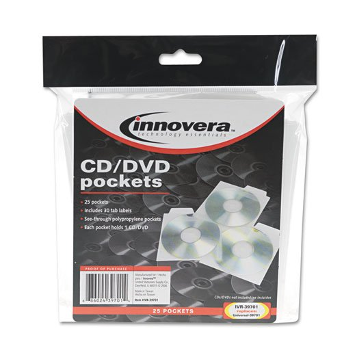 Innovera® - Cd/Dvd Pockets, 25/Pack - Sold As 1 Pack - Space-Saving, Polypropylene Pocket.