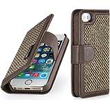StilGut Talis, Fashion-Serie, Tasche aus Leder mit innenliegenden Fächern für Apple iPhone 5s, Donegal-Tweed / coffee brown