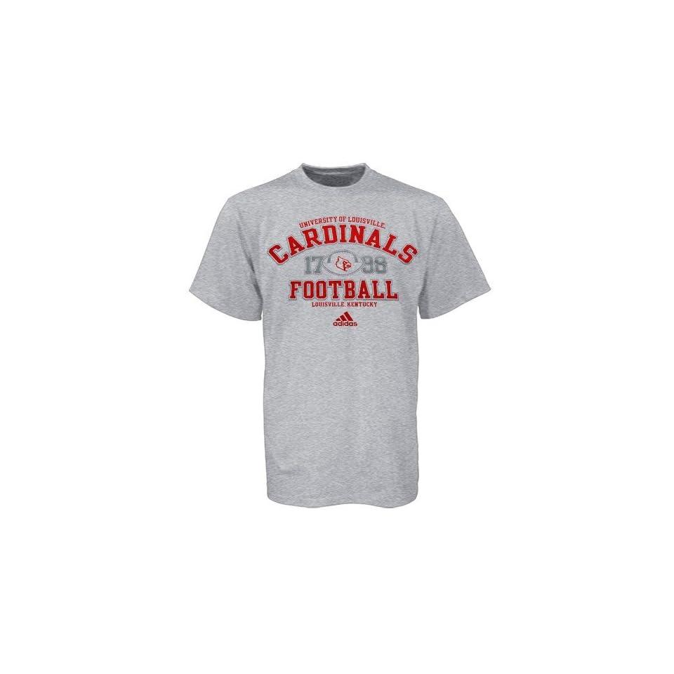 adidas Louisville Cardinals Ash Gut Check Football Practice T shirt