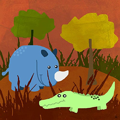 Green Leaf Art Rino and Crocodile Canvas Art