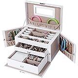 Songmics Weihnachtsgeschenk Schmuckkasten Schmuckkoffer Kosmetikkoffer Weiß (Modelle auswählbar) JBC121W