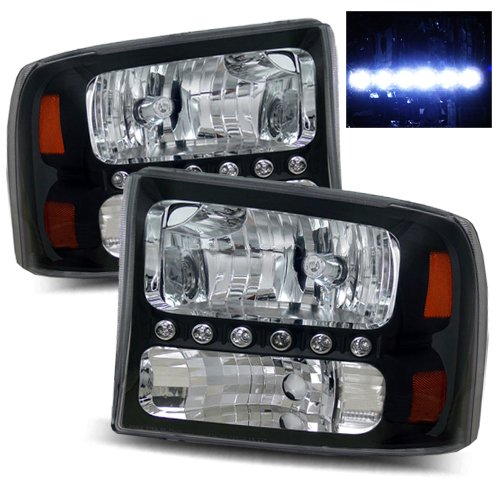 2000-2004 Ford Excursion Led Headlights /W Amber (Black)