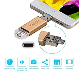 Phone Memory Uppel 16G OTG Phone USB Flash Memory Drive with Micro USB + USB C + USB3.0 Three in One Backup Storage Memory Expansion for Computer USB C devices Android Phone with OTG Function(16G)