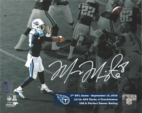 Marcus Mariota Autographed/Hand Signed 8x10 Photo Tennessee Titans First Game MM Holo Stock #95006