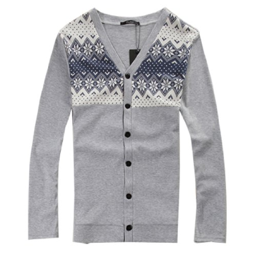 Men Long Sleeve Nordic Print Cardigan Style Coat Light Gray XS