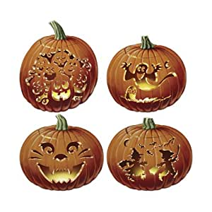 Beistle 4-Pack Packaged Carved Pumpkin Cutouts, 14-Inch: Amazon.ca ...