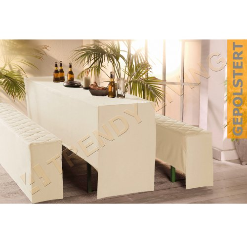 3 tlg premium bierbankhussen set 50x220cm gepolstert creme bierzeltgarnitur. Black Bedroom Furniture Sets. Home Design Ideas