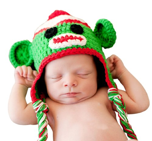 Melondipity Festive Christmas Sock Monkey Crochet Baby Hat Holiday Beanie