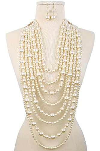 Audrey Multi-Strand Simulated Pearl Statement Necklace and Earrings Set Cream Tone (Multi Gem Earring Sets compare prices)