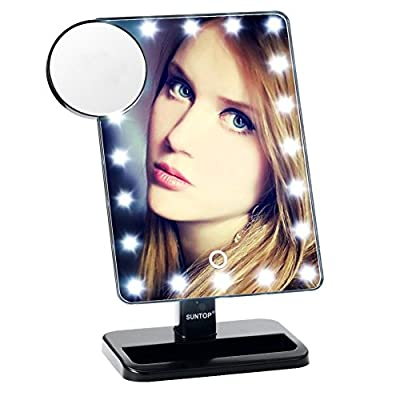 SUNTOP LED Lighted Vanity Makeup Mirror, 20 Light Bulbs and 10X Magnifying Spot Mirror