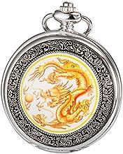 KS Reloj de Bolsillo Colgante Unisex de Cuarzo, Dragon Series, Amarillo WPK041