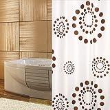 textile rideau de douche cercles blanche marron points rétrograde 180x200 cm qualité bagues inclue!