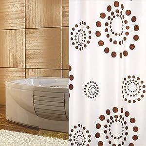 textile rideau de douche blanche marron points 120 x 200 cm bagues inclue 120x200 rétrograde!