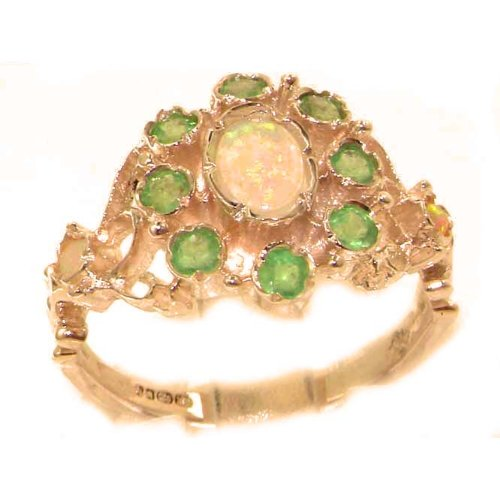 Unusual Solid Rose Gold Natural Opal & Emerald Ring with English Hallmarks - Size 12 - Finger Sizes 5 to 12 Available
