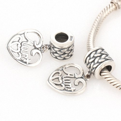 Taotaohas-(1Pc) Oxidized Antique 100% Solid Sterling 925 Silver Charm Dangle Beads, [ Name: Love Aunt ], Fit European Bracelets Necklaces Chains, Troll, Biagi Glass Charm Beads