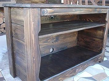 Massiver Handgemachter Lowboard TV Schrank Holzkiste Truhe Box Holz Aufbewahrung Antik Dekoration Wohnen Möbel Sitzbank Schuhschrank Kaffee Tisch PT