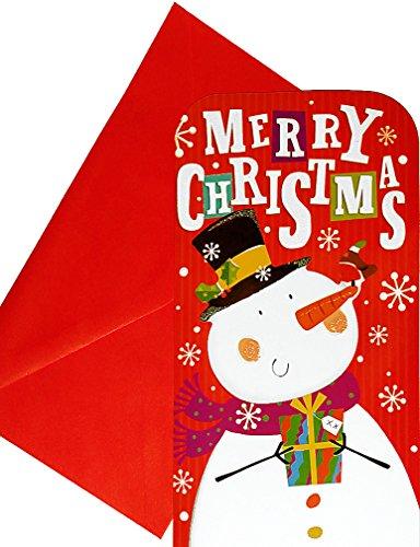 Biglietto di Natale con linguetta per denaro regalo o buoni, motivo: pupazzo di neve, busta inclusa, 16x 9cm