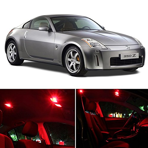 Nissan 350Z 2003-2008 Red Premium Led Interior Lights Package Kit (5 Pieces)