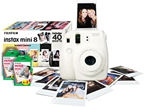 Fujifilm Instax Mini 8 Instant Camera Gift Bundle with 40 Shots - White (discontinued by manufacturer)