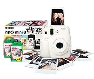 Fujifilm Instax Mini 8 Instant Camera Gift Bundle with 40 Shots - White