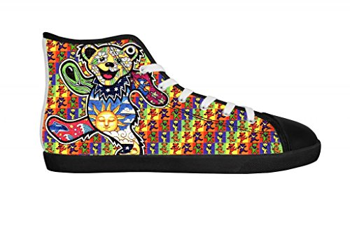 Rock Band Grateful Dead Women's Canvas Shoes Women Black High Top Canvas Shoes-10M US