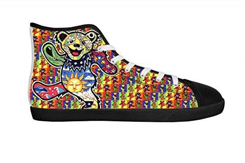 Rock Band Grateful Dead Women's Canvas Shoes Women Black High Top Canvas Shoes-10M US