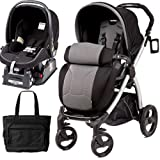 Peg Perego Book Plus Stroller Travel System with a Diaper Bag - Nero Stone-Black Grey