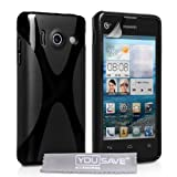 Huawei Ascend Y300 Case Black X-Line Silicone Gel Cover