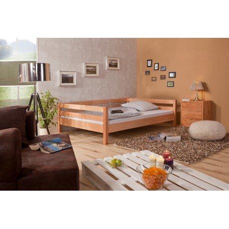 Alfred & Compagnie - Lit mezzanine 140x200 bois massif échelle inclinée vernis naturel Boris
