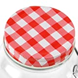 Drinking Jar Lids Red & White - Set of 4   Mason Drinking Jar Lids Gingham Lids for Drinking Jars Screw Top Lids