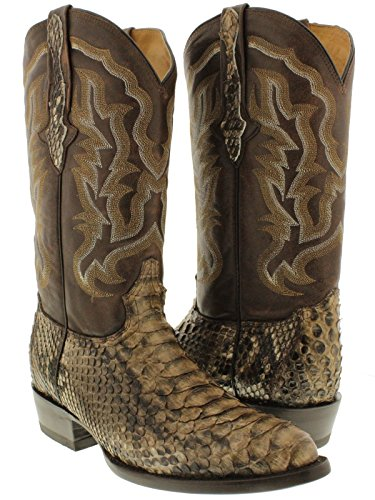 Cowboy Professional - Men`s Brown Genuine Python Snake Skin Leather Cowboy Boots J Toe 12 E