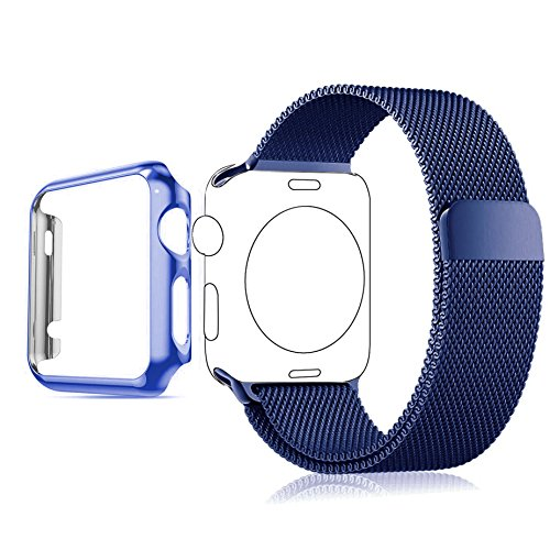 Apple Watch Band, Biaoge Stainless Steel Milanese Loop Replacement Wrist Band with Plated Case for Apple Watch Series 1 only (38mm BLUE) (Watch Strap Stainless Steel 10mm compare prices)