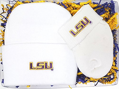LSU Tigers Newborn Baby Cap and Socks Gift Set