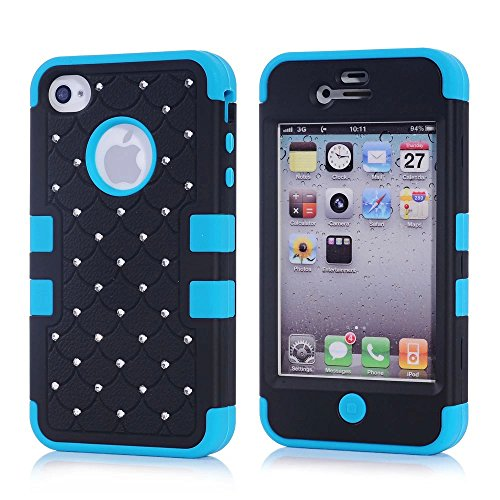 iPhone 4S Case, KAMII 3 Layers Verge Hybrid Soft Silicone Hard Plastic Triple Quakeproof Drop Resistance Protective Case Cover for Apple iPhone 4/4S (Black Blue) (Iphone 4s Back Glass Marvel compare prices)
