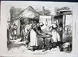 Old Original Antique Victorian Print Cottage Warwickshire Baking Day Kitchen Fine Art 1872 40Maa0