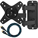 "Cheetah Mounts ALAMB TV Monitor Wall Mount, for 12 to 24"" Displays up to 40 Lbs, Includes a Twisted Veins 10 Foot HDMI cable"
