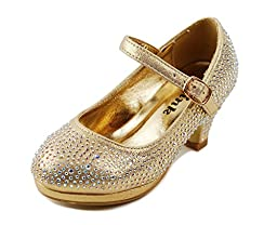 Dana-53k Little Girl Mid Heel Rhinestone Pretty Sandal Dress Shoes (10, Gold)