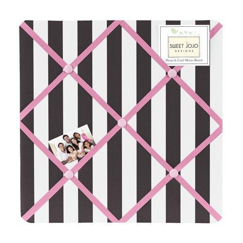 Sweet Jojo Designs Pink, Black and White Stripe Paris Fabric Memory/Memo Photo Bulletin Board (Paris Memo Board compare prices)