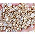 LOVEKITTY ® 800 pcs Light Brown Mixed Sizes Flat back Pearl Cabochons
