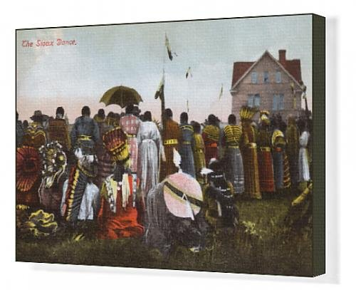 [Canvas Print of Traditional Dance of Sioux Indians - Canada - Rear view] (Canada Dance Costumes)