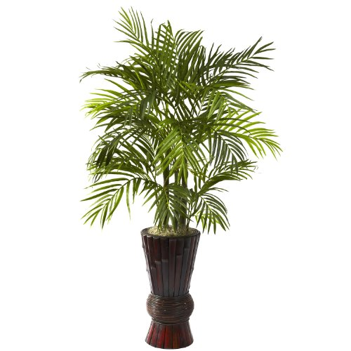 4' Silk Areca Palm w/ Bamboo Planter (Nearly Natural 4 Feet Ficus compare prices)