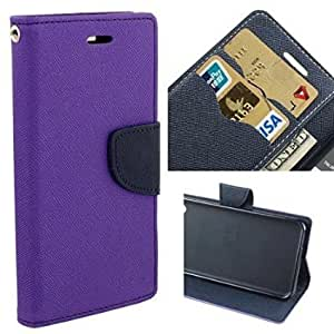 Sparkling Trends Mercury Goospery Fancy Diary Wallet Flip Cover Case for Lyf Flame 3 Purple