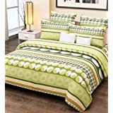 Home Candy 100% Cotton Elegant Green Circles Double Bed Sheet With 2 Pillow Covers
