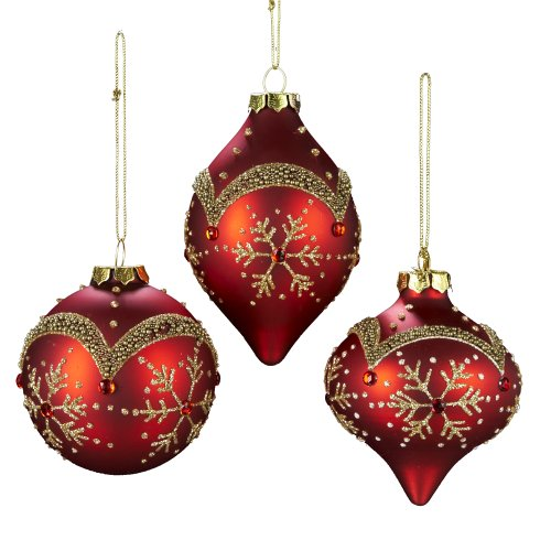 Kurt Adler Glass Snowflake Pattern Ornament, 80mm, Set of 3, Red/Gold