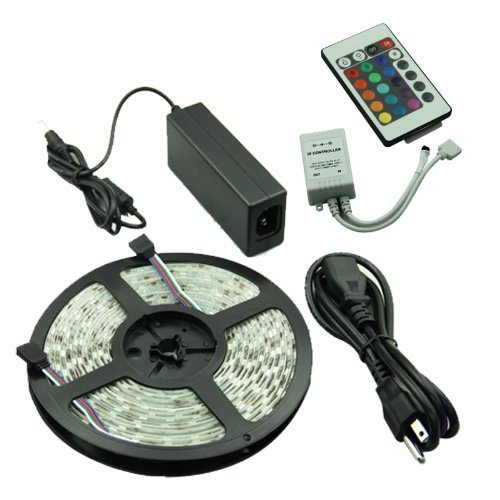 Veecome 5M 5050 Smd Multi-Color Rgb 300 Led Flexible Strip Light Ip65+ 24 Key Ir Remote Controller ,Decorated Lights For Weddings,Christmas Parties, Bars,Clubs And House Gardens.