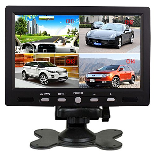 SallyBest® 7 Inch 16:9 HD 4 Split Quad Video Displays Automatic Identify 4 Video Input Signal TFT LCD Car Rear View Monitor with Stand-alone DVD VCR Camera GPS Headrest Monitor (Split Screen Hdmi compare prices)