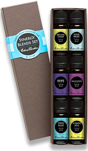 Synergy Blends- (Breathe Easier, Good Night, Hope, Relaxation, Stress Relief and Sunshine Spice) Top 6 Basic Sampler Pack Pure Therapeutic Grade Essential Oil Gift Set- 6/10 Milliliter