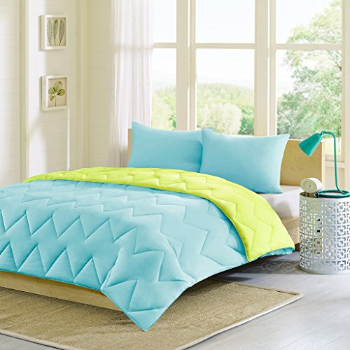 Intelligent Design Trixie Reversible Down Alternative Comforter Mini Set, Blue/Green, Twin/Twin X-Large