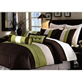 7 PC MODERN BROWN / SAGE /BEIGE COMFORTER SET / BED IN BAG - QUEEN SIZE BED ....