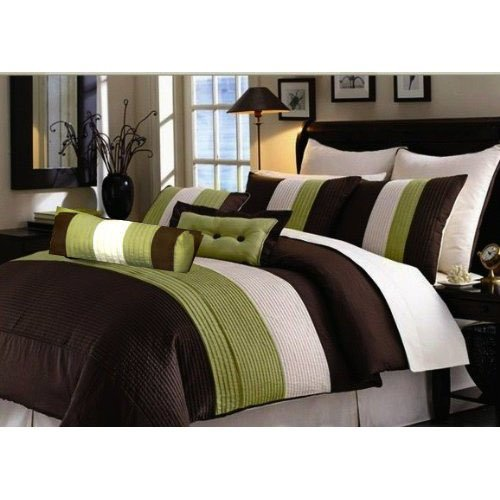 Cute  PC MODERN BROWN SAGE BEIGE COMFORTER SET BED IN BAG KING